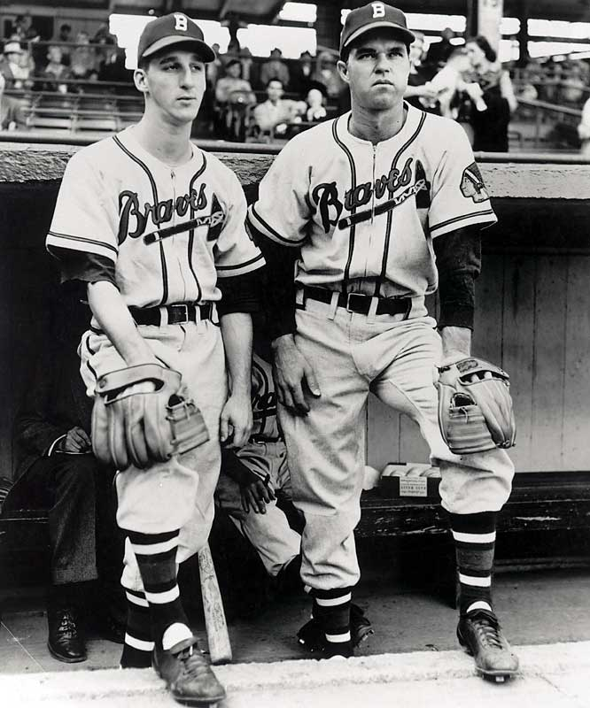 """""""Spahn and Sain and pray for rain"""" is one of the most famous phrases in sports history. In the five-season span from 1946 to '50, Spahn and Sain combined to win 181 games. In 1947 Spahn went 21-10 with a NL-leading 2.33 ERA, while Sain went 21-12 with a 3.52 ERA."""