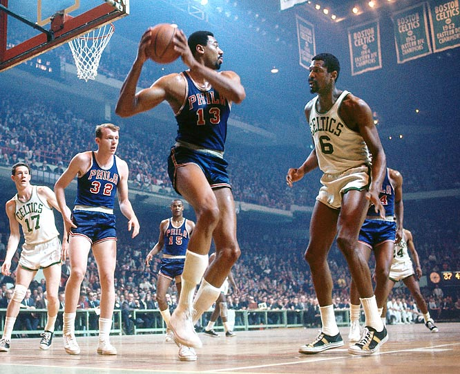 In spending the decade matched up against each other, the two legendary big men redefined the sport. Chamberlain, a dominant scorer and rebounder, won three consecutive MVP awards from 1966-68. But his individual exploits translated into only a single title in the decade (1967), thanks to his chief rival, Russell, who led his Celtics to the championship every other year. An unrivaled defensive force and team leader, Russell won four MVPs in the `60s and five overall.