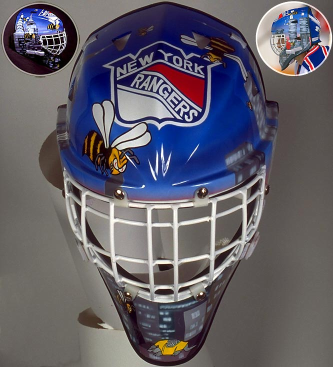 "When your nickname is ""Beezer"" and you play in New York City, why not go with some bees buzzing around the city skyline?  Having played nine full seasons with the Rangers, ""Beezer"" only got to wear this mask during his final season with the team, which was also the team's 53rd consecutive season without a Stanley Cup, before winning in '94."