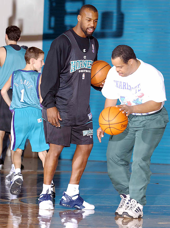 Former Charlotte guard Baron Davis works on the basketball skills of a group of Special Olympians at the Hornets training facility in Fort Mill, S.C.