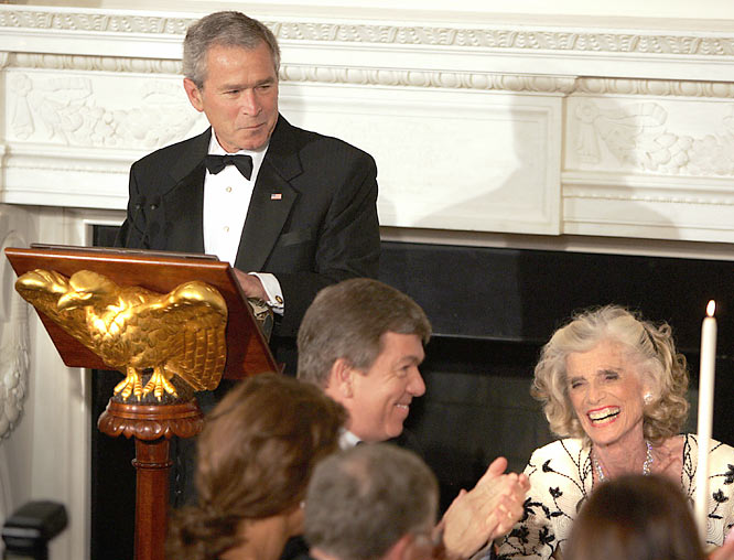 President George W. Bush speaks at a dinner attended by Kennedy Shriver to honor the Special Olympics.