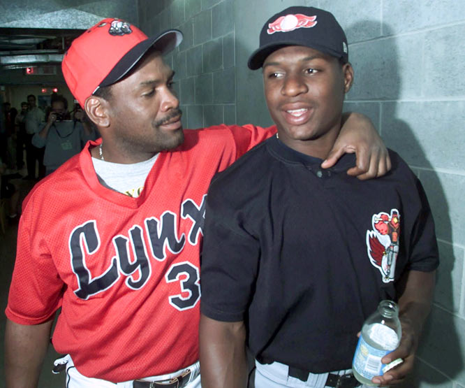 The International League's Triple-A game between Rochester Red Wings (Orioles) and Ottawa Lynx (Expos) features Tim Raines and his son Tim Jr. as opponents. It is believed to be the first contest involving a dad and his son facing each other during the regular season on the professional level.