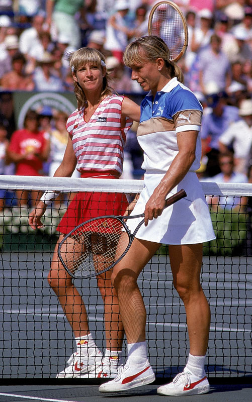 Longtime rivals Chris Evert Lloyd and Martina Navratilova embrace at the net after Navratilova beat Lloyd for the '83 title. It was the first of her four U.S. Open championships.