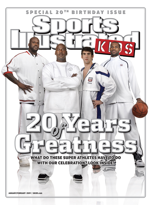 Jordan's latest SIK cover appearance came exactly 20 years after the first. He joined Shaquille O'Neal, Michael Phelps, and LeBron James as four of the greatest athletes of the past 20 years shared the SI Kids 20th Anniversary cover.