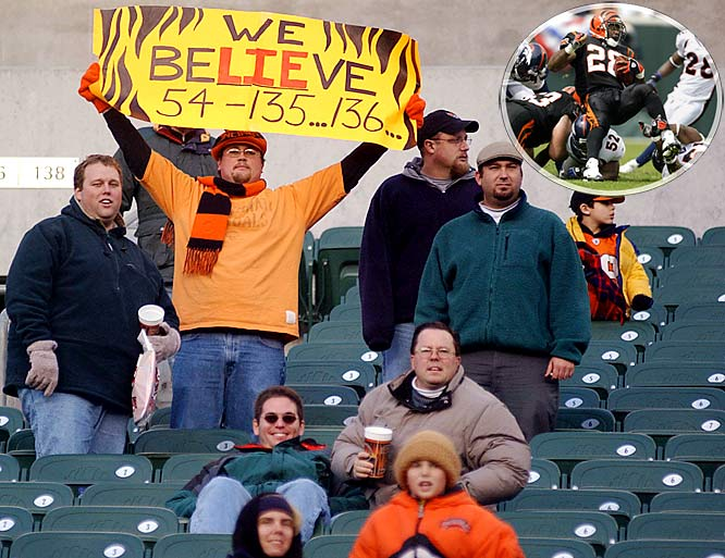 Called the Bungles for obvious reasons, Cincinnati's tiger-striped squad went 14 seasons without seeing the playoffs, and only two .500 campaigns (1996 and 2003) kept them from joining the Bucs in the NFL record book.<br><br>Inset is Corey Dillon (1997-03 Bengals).