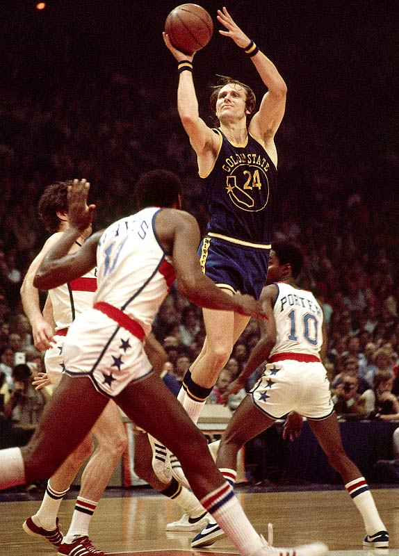 Rick Barry (pictured), Walt Frazier, Bob Houbregs, Pete Maravich, Bobby Wanzer.<br><br> Style and substance earns this group its No. 3 ranking, starting with Maravich's floppy socks, mop-top hair and creativity as a passer and as a scorer (pay attention, Ricky Rubio) that made fans smile. Barry was driven and diligent, way more eager to win than to be liked. No one was -- heck, is -- cooler on the NBA scene than Frazier. Wanzer, you should know, was a free-throw marvel who set an accuracy target for Barry's underhanded heaves. Hook-shot specialist Houbregs was from Vancouver, an early NBA import.
