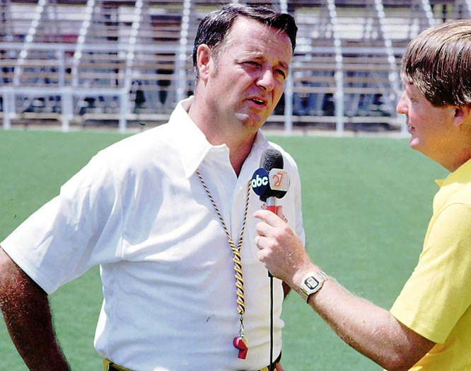 Bobby Bowden is interviewed by an unidentified reporter during his first year at Florida State.