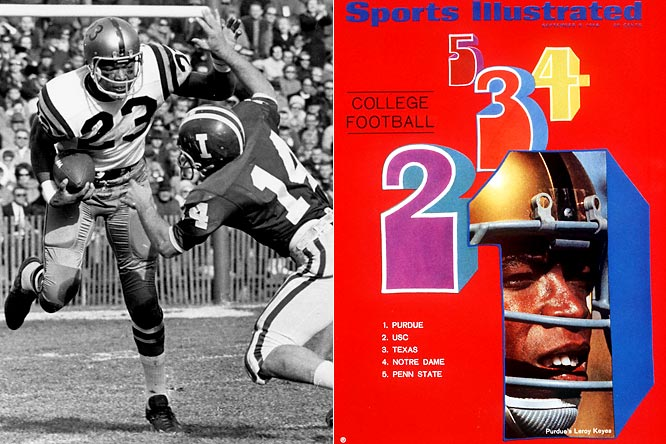 Keyes was third in 1967 to Gary Beban and second a year later to O.J. Simpson. In his first collegiate game he returned a fumble 94 yards for a touchdown. Among the last of the two-way players, Keyes was also a running back for the Boilermakers.