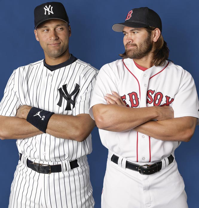 Before they were teammmates in the Bronx, Johnny Damon and Jeter pose for the 2005 SI baseball preview.