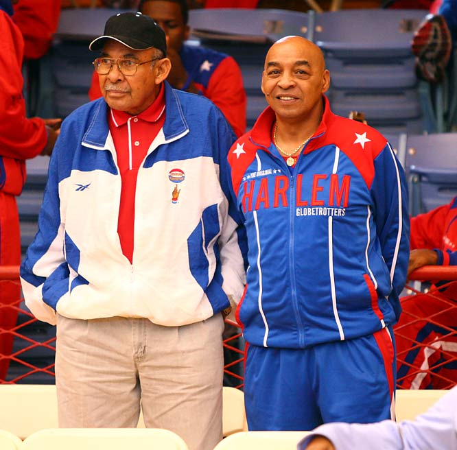 Two Globetrotters legends joined in the fun.  Tex Harrison (left) has been with the team for over 55 years and is now the director of coaching. Curly Neal is a veteran of over 6,000 games and one of the team's most recognizable players.
