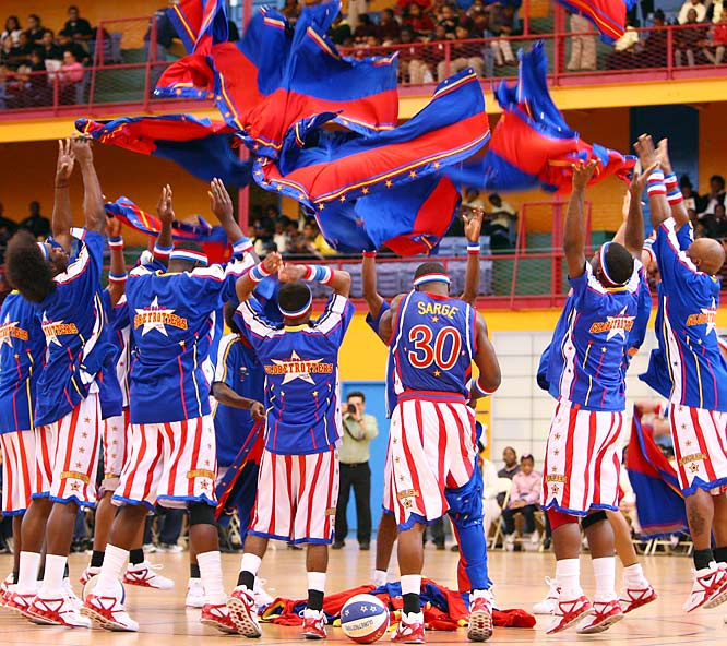 """The Harlem Globetrotters recently gave 3,200 elementary school kids in Harlem a sneak preview of their newest talent before departing on an international tour. This annual """"Return to Harlem"""" game served as a ceremonial tip-off of their 84th season, during which they will give 270 performances in 215 cities around the world."""