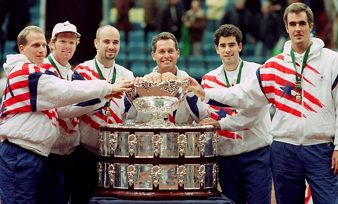 Members of the U.S. team are all smiles after beating Russia in the Davis Cup final.