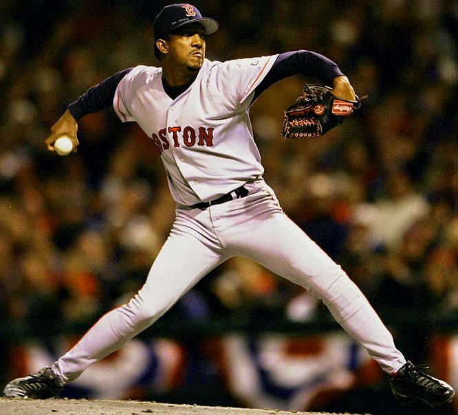 Making a surprise relief appearance in an 8-8 slugfest, Pedro Martinez struck out eight in six hitless innings to help Boston complete an 0-2 series comeback.