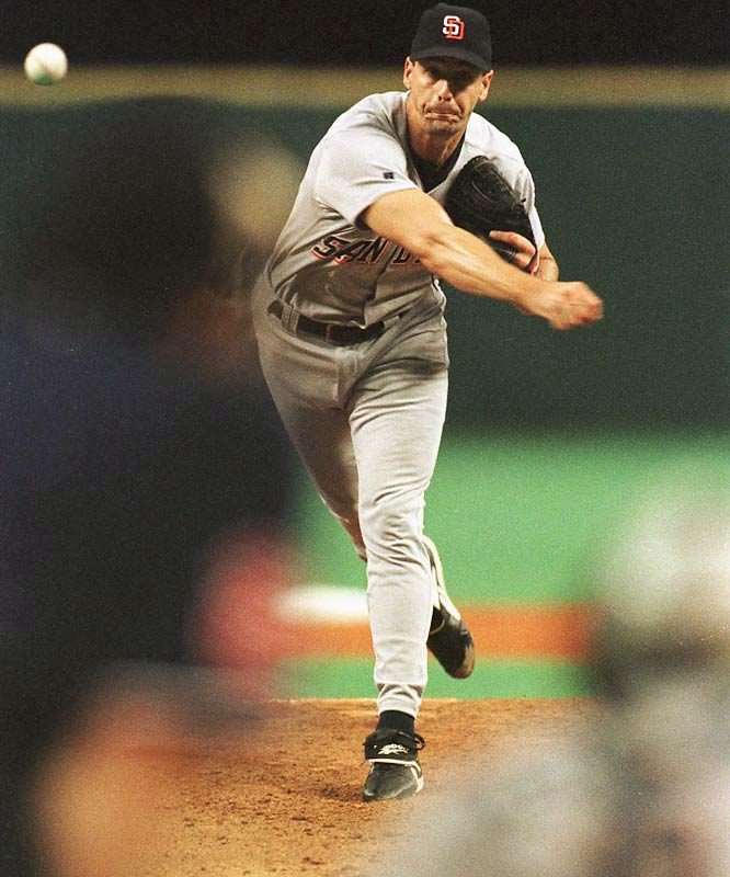 In one of the most dominating performances in postseason history, Kevin Brown struck out 16 batters in eight scoreless innings to outduel Randy Johnson.