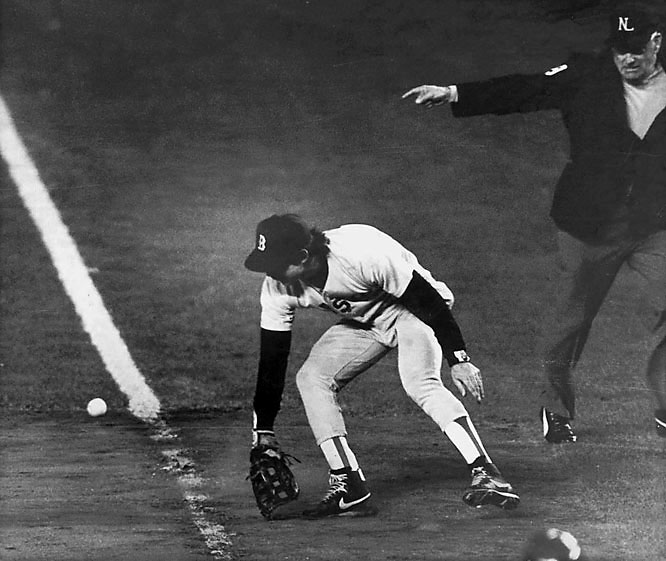 Another 10th inning, this one at Shea Stadium, saw the Red Sox, up 3-2 in the Series, break a 3-3 tie with a pair of runs. Closer Calvin Schiraldi got two quick outs in the bottom of the frame to put the Red Sox an out away from their first world championship since 1918, but the Mets connected for three straight singles to close to 5-4. Veteran Bob Stanley was called on in relief with the tying run on third and promptly uncorked a wild pitch that tied the game. He then got Mookie Wilson to hit a slow grounder to first base, but the ball dribbled through the legs of creaky-kneed first baseman Bill Buckner, forcing a Game 7, which the Mets won, extending the Boston drought.