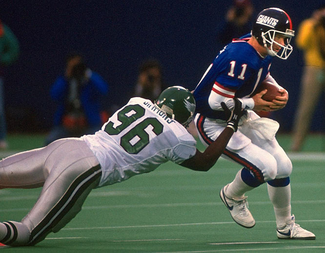 In 1988, the Eagles clinched the division and knocked the Giants out of the playoffs in an overtime victory.  The Eagles blocked a Giants field goal attempt and defensive end Clyde Simmons returned it for a touchdown.