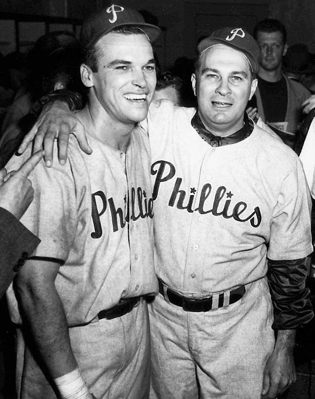 During the 1950 NL pennant race, the Whiz Kids beat the Dodgers in extra innings, after Dick Sisler (left) hit a home run on the last day of the regular season.