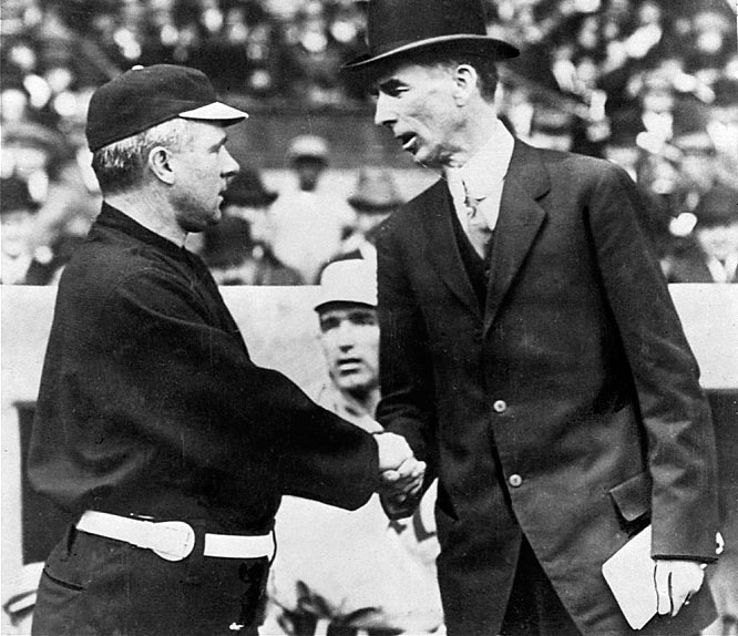 Manager John McGraw's (left) New York Giants might have throttled Connie Mack's (right) Philadelphia A's in the 1905 World Series, but the A's took their revenge with victories in the 1911 and 1913 World Series.