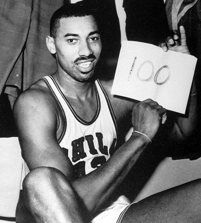 On March 3, 1962, Philadelphia Warriors center Wilt Chamberlain scored 100 points against the New York Knickerbockers.  He still holds the single-game scoring record.