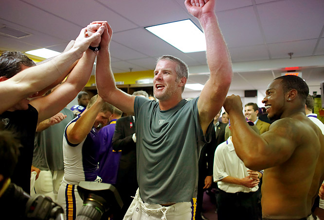 The Vikings locker room was racous after the big Monday Night Football victory over the Packers, the team that let Favre go.