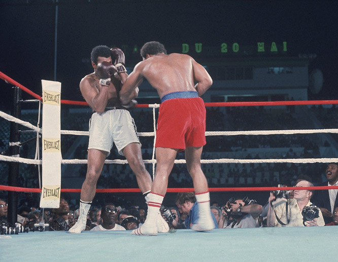 "By the start of the second round, Ali's game plan was beginning to unfold: He began lying on the ropes, where he absorbed Foreman's punches without any counterattack. Ali latter coined his style ""rope-a-dope."""