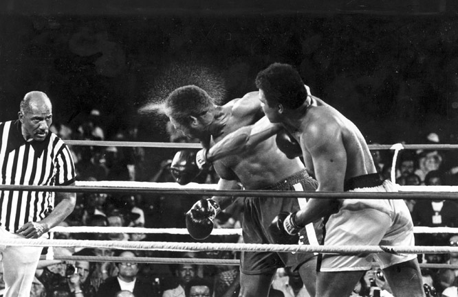 After several rounds of punching, Foreman began to tire and Ali capitalized on his fatigue.