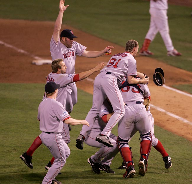 The Red Sox win their first World Series since 1918 by sweeping the Cardinals in four games.