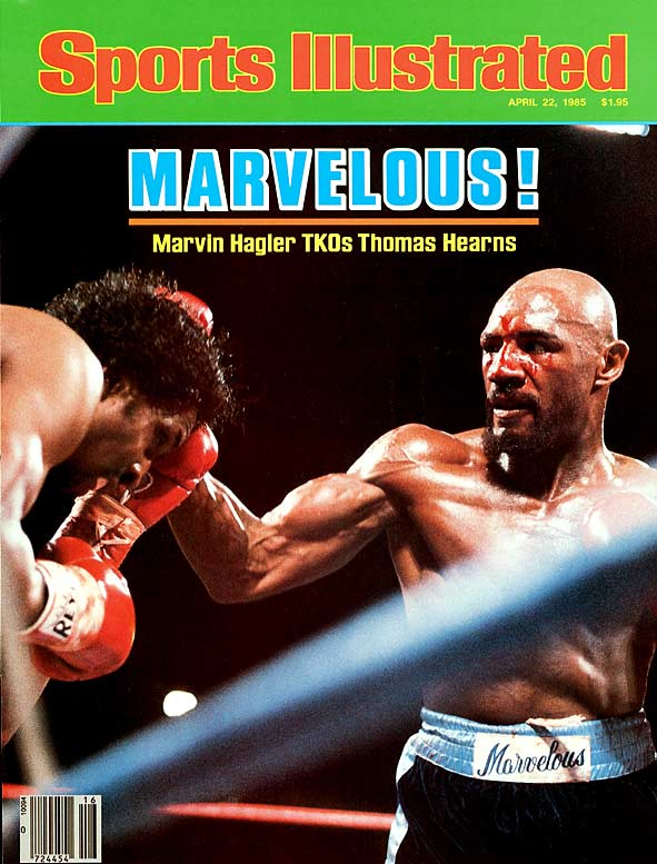 "Eight minutes of fury in a parking lot at Caesars Palace in Las Vegas was aptly dubbed ""The War."" The two middleweight champions fought toe-to-toe from the opening bell, throwing nothing but power punches. Bleeding from a nasty cut on his forehead, the desperate Hagler scored a third-round KO."