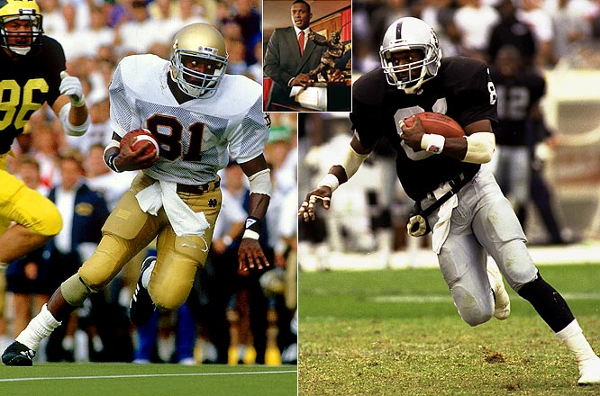 The Notre Dame standout gained 1,937 all-purpose yards in 1987 and became the first wide receiver to win the Heisman. He was drafted by the Raiders and played 17 seasons with the franchise. He was a nine-time Pro Bowl selection and set Raiders franchise records for receptions, receiving yards and punt return yards.