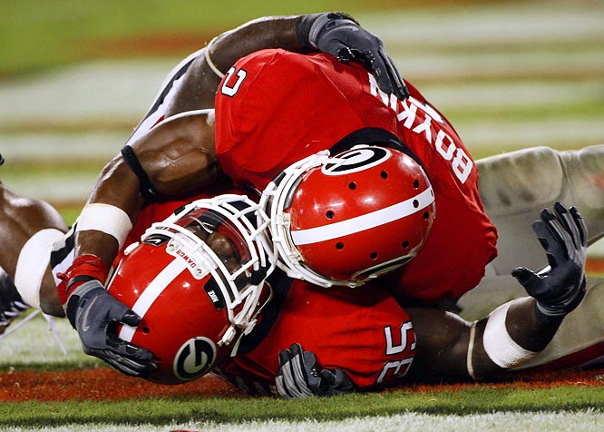 With 22 seconds to go, the Bulldogs' Rennie Curran (35) batted away South Carolina's would-be game-winning touchdown pass on fourth down at the seven to seal Georgia's win.