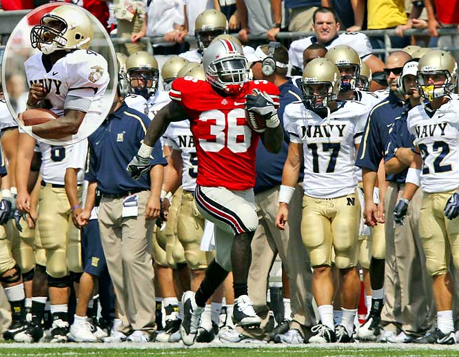 A Ricky Dobbs' (inset) TD with 2:23 remaining put the Midshipmen within a two-point conversion of tying the Buckeyes in Columbus. But Navy went away from its triple-option, lining up in the spread and Ohio State's Brian Rolle intercepted the pass, running it back for two Buckeyes' points.