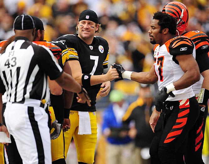 Dhani Jones and the Bengals were cordial as usual before the game, but then sacked Roethlisberger four times and held him without a TD pass for the first time this season.