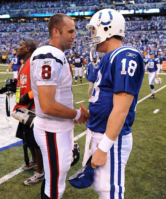 Houston quarterback Matt Schaub (left) is the only quarterback with more passing yards than Manning this season (2,653 to 2,545).