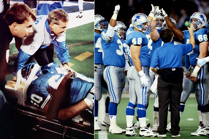 The six-game winning streak began on the afternoon in which right guard Mike Utley suffered a blow to the head against the L.A. Rams and was paralyzed from the chest down. He flashed the thumbs up sign as he was being taken from the field, not knowing the severity of his injury. Detroit made the playoffs that year for the first time since 1983.