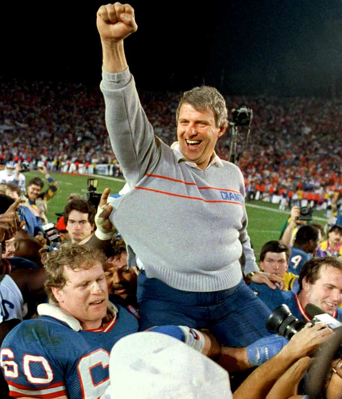 Parcells is carried off the field after the Giants defeated the Broncos in Super Bowl XXI.