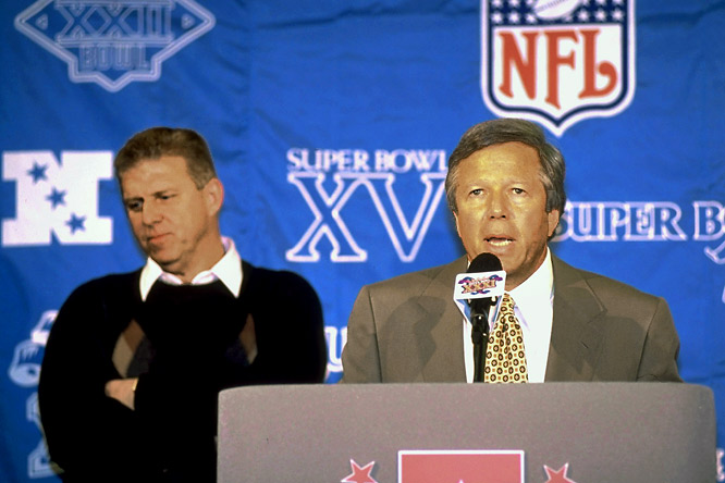 Patriots owner Robert Kraft speaks to reporters during Media Day at Super Bowl XXXI. Parcells would leave the Patriots to coach the Jets a few days after the game citing problems with ownership.