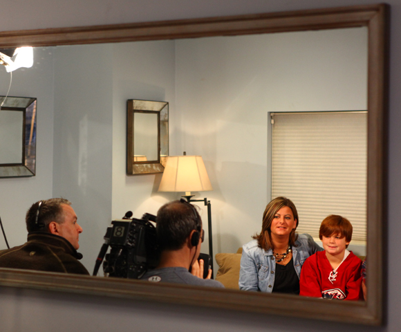 Here, Austin is interviewed prior to an appearance on the CBS Early Show. He still didn't know if he was the winner at this point, a secret kept by his whole family, including his mother Erica, sitting to his left.