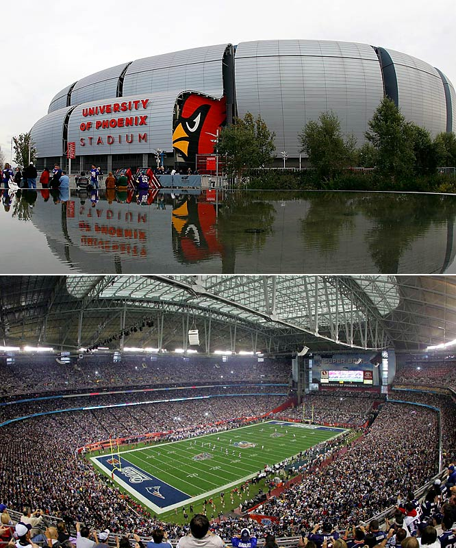 Named for a college without a football team, this 1.7-million-square-foot stadium has quickly become one of the central venues in the sports world. It's home to the Arizona Cardinals and the Fiesta Bowl and hosted Super Bowl XLII in 2008. The award-winning design features a roof covered by a translucent fabric and exterior walls made of  metallic panels to help with cooling inside. The field can be moved outside on rollers, enabling optimal grass growth in the desert setting.