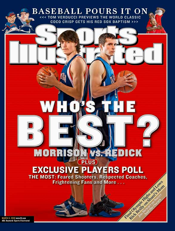 Their teams never played each other, but Duke's Redick and Gonzaga's Morrison waged a scintillating battle from opposite coasts during the 2005-06 season. Morrison edged out Redick for the national scoring title (28.4 ppg to Redick's 27.4), but Redick walked away with the Naismith and Wooden awards. Alas, neither player got what he wanted, which was a chance to play for a national championship. Both of their teams lost in the Sweet 16.