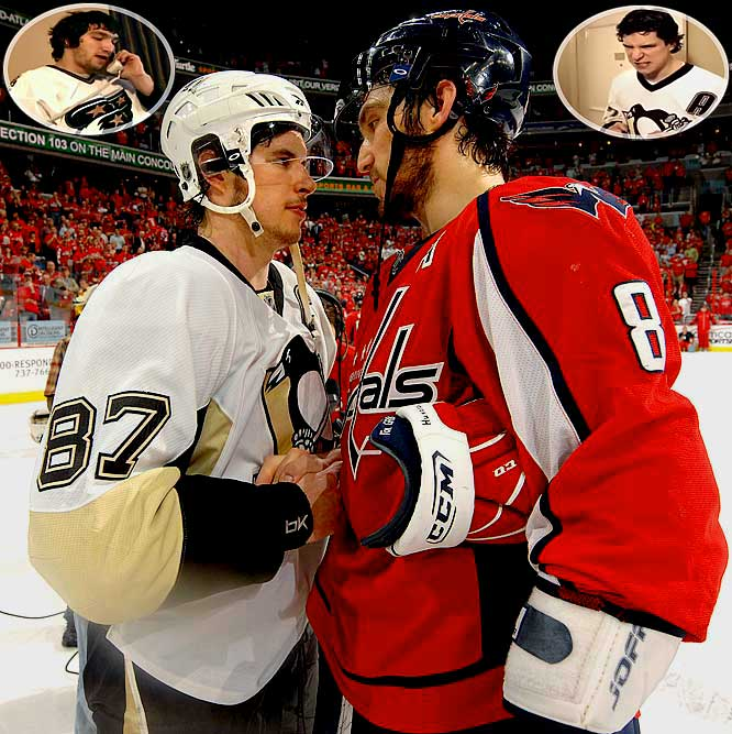 "The NHL made a delightful commercial in 2008 in which Ovechkin orders half the room-service menu (""five lobsters ... lots of ketchup"") and then gives his name as Sidney Crosby. (Crosby's one line, when he sees the room service carts, is, ""Ovechkin."") Well, they are what they ate, or at least what Ovechkin ordered: lip-smackin' terrific. In a sense, this is a virtual rivalry, because they rarely share the ice. Just the spotlight. The second-round Pittsburgh-Washington series in 2009 was a magical seven games of Can You Top This? They each had eight goals. Ovechkin had six assists, one more than Crosby. Amazing."