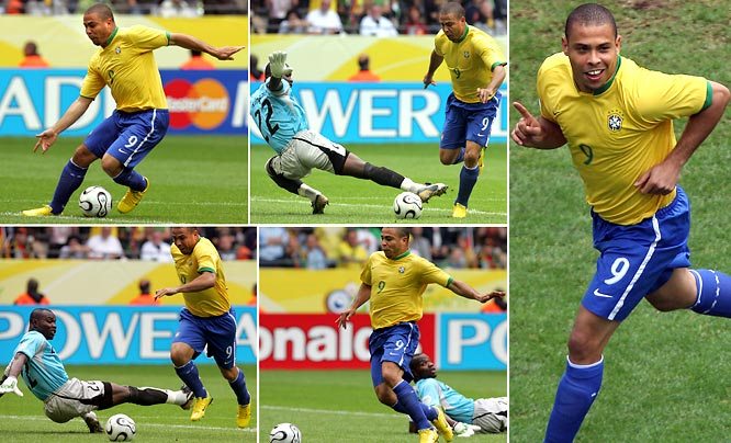 Let's get this out of the way up front: Ronaldo, Brazil's legendary striker, was fat and out of form at the 2006 World Cup and should not have been in the starting lineup. Yet despite looking like he swallowed an inner tube, he scored twice against Japan and then struck again against Ghana, his 15th World Cup goal, which bested the record held by Gerd Muller. Fat or not, the guy could still bulge the ol' onion bag.