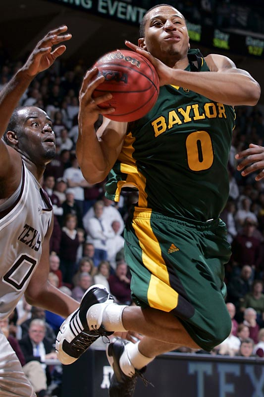 In the longest game in Big 12 history, Curtis Jerrells scored 11 of his 36 points in the fifth and final overtime to lift Baylor after five of the 11 Bears who had played had fouled out and two others had four fouls. Three players logged at least 56 minutes for the Texas A&M, including Bryan Davis, who finished with 30 points and 14 rebounds, and Dominique Kirk, whose buzzer-beating tip-in forced the second overtime.