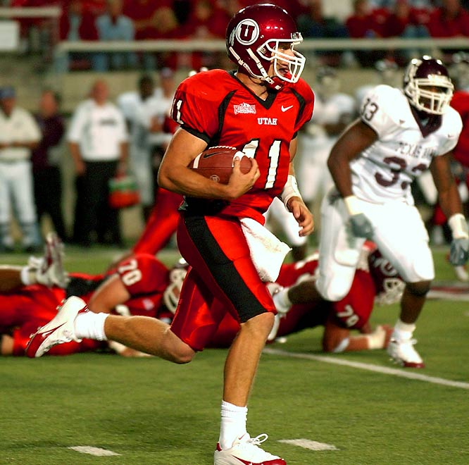 The first mid-major team to bust the BCS asserted its dominance right out of the gate thanks to its junior quarterback. With a national television audience watching on a Thursday night, Smith completed 21-of-29 passes for 359 yards and three touchdowns. He also ran for 76 yards and two touchdowns. Smith ultimately led the Utes to a Fiesta Bowl win against Pittsburgh and became the No. 1 overall pick in the 2005 NFL draft.