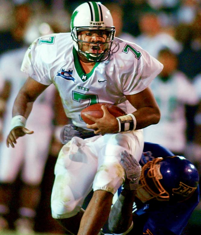 "Several thousand fans left at halftime, when Marshall trailed East Carolina by 30. Leftwich would make those fans regret their haste. The Marshall quarterback led the Thundering Herd to a 64-61, double-overtime victory in the highest-scoring bowl ever. Leftwich completed 41-of-70 passes for 576 yards and four touchdowns. He also ran for a score. ""Lord, have mercy,"" East Carolina coach Steve Logan said. ""I hope everyone got their money's worth."""