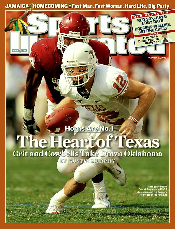 Sam Bradford had better numbers (387 passing yards, five touchdowns), but McCoy led his team to victory when it mattered most. Down five midway through the fourth quarter, McCoy completed all four of his passes on a 74-yard drive that ended with Cody Johnson crashing over the goal line to give Texas the lead against top-ranked Oklahoma. The Longhorns went on to win 45-35, and McCoy finished with 277 passing yards and a touchdown.