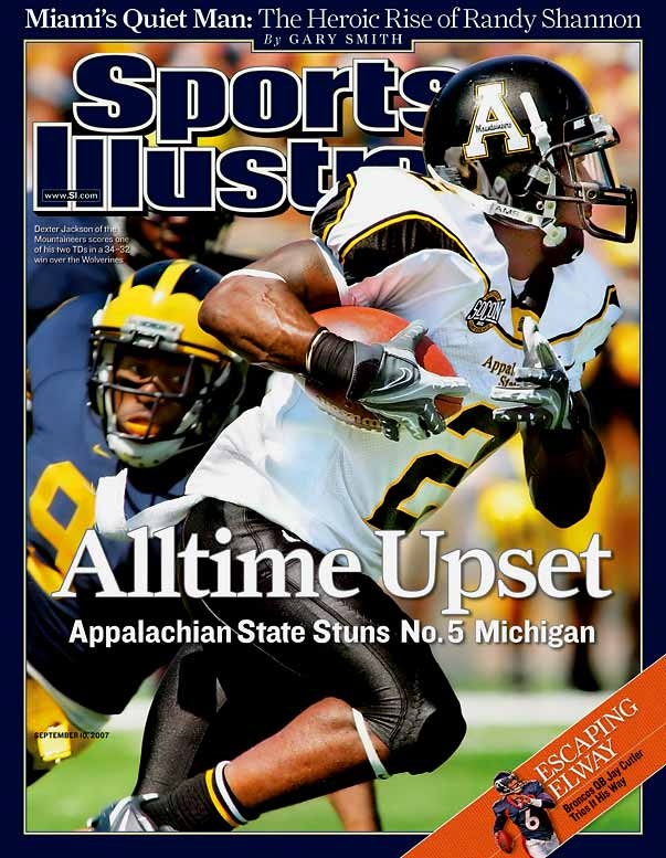 No. 5 Michigan entered 2007 with national title expectations, but one of the greatest David versus Goliath moments in college football history quickly derailed those dreams. The Wolverines returned stars Chad Henne, Mike Hart and Jake Long, but the Mountaineers neutralized that star power with a four-touchdown effort from dual-threat quarterback Armanti Edwards and a last-second field goal block. It was the first win for an FCS (then Division I-AA) team over a Top 25 AP team since the Division I subdivisions were created in 1978.