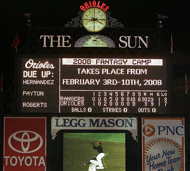 The Rangers set an AL record by scoring 30 runs at Baltimore. Amazingly, the Orioles led 3-0 heading into the fourth. The Texas rally started with Jarrod Saltalamacchia's two-run fourth-inning single, and Ramon Vazquez made it 5-3 with a three-run homer. That score held until the sixth when the Rangers exploded for nine runs off Daniel Cabrera, Brian Burres and Rob Bell. They scored 10 more off Bell and Paul Shuey in the eighth; Saltalamacchia capped the inning with his second homer of the game. The final six runs came against Shuey in the ninth, with Vazquez finishing things off with another three-run shot. Texas hit six home runs, with Travis Metcalf and Marlon Byrd adding grand slams, and Saltalamacchia and Vazquez driving in seven runs apiece.