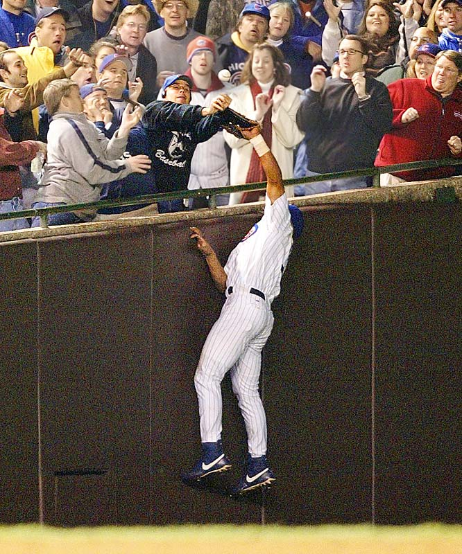 The Cubs were within five outs of their first World Series since 1945 when all hell broke loose at Wrigley Field. Mark Prior, allowed to throw 119 pitches by Dusty Baker, took a 3-0 lead into the eighth, but after the first out, Juan Pierre doubled. That's when Cubs fan Steve Bartman inadvertently swatted a foul pop out of Moises Alou's glove, shortstop Alex Gonzalez booted a would-be inning-ending double-play ball with the Cubs still leading 3-1, and the Marlins rallied for a whopping eight runs. Florida would rally in Game 7, too, this time against Kerry Wood.