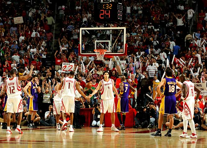 No, this isn't a memorable single-game performance, but a series of them for a Rockets team that put together a 22-game winning streak, the second longest in NBA history. With complementary players like Rafter Alston, Luis Scola and Carl Landry supporting stars Tracy McGrady and Yao Ming (before he got hurt), the Rockets went unbeaten for seven weeks. And they sustained the streak even after losing Yao (foot surgery) for the season 12 games into it. The streak was snapped March 18 in a 94-74 home loss to the Celtics.