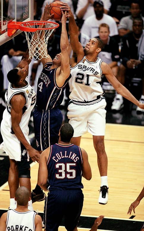 Two years after Shaq's all-around gem in an NBA Finals game, Duncan also narrowly missed a quadruple-double. With Duncan going for 21 points, 20 rebounds, 10 assists and eight blocks, the Spurs scored a championship-clinching victory against the Nets in Game 6.